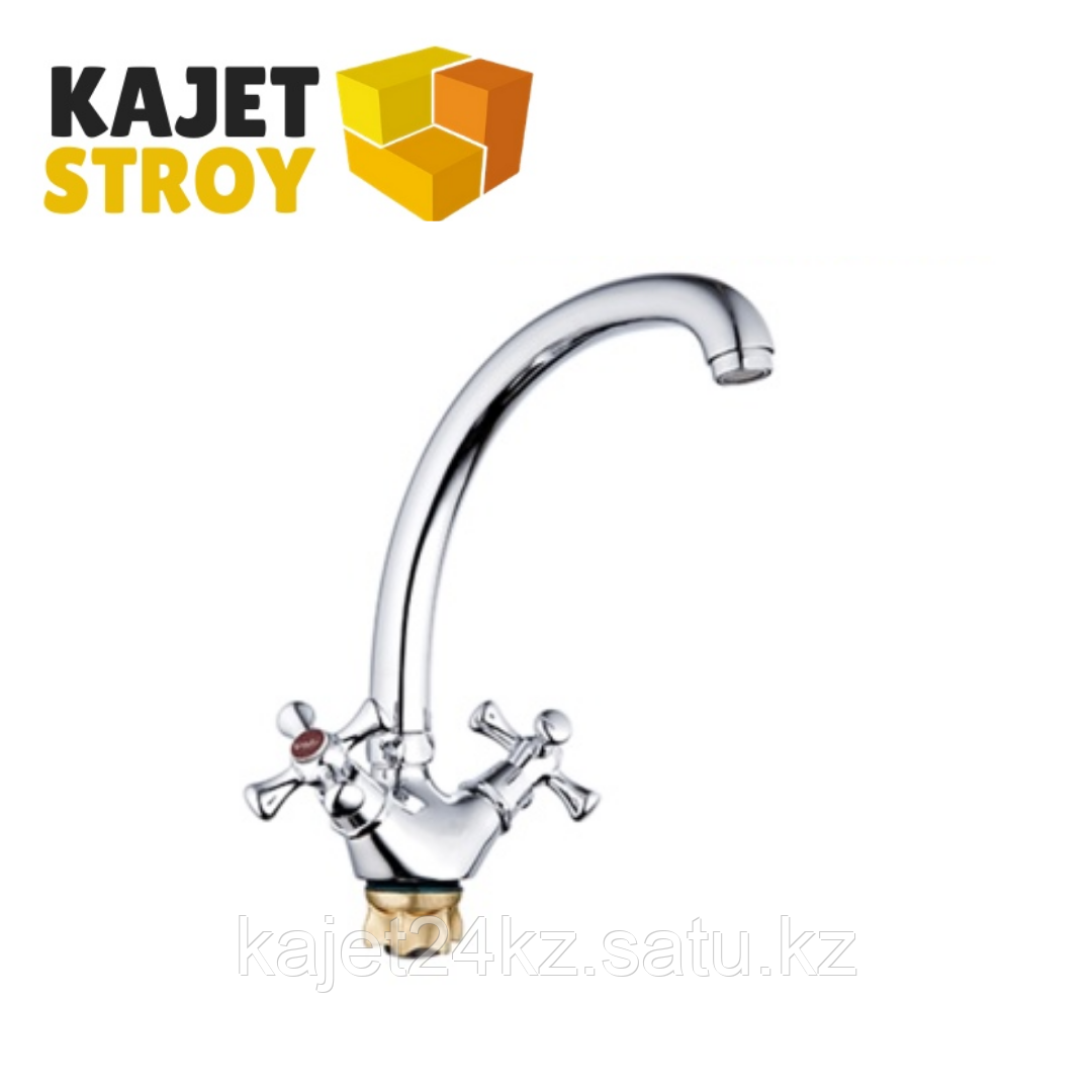 Смеситель ZEGOR DTZ4-B827  двуручный для кухни гибкий,гайка (корона) (10)