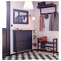 ХЕМНЭС Галошница, 4 отделения, черно-коричневый, 107x101 см, фото 1