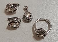 """Женский комплект (набор) из серебра """"Капля"""". Вставка: белые фианиты, размер: 16,5, вес: 14 гр, покр"""