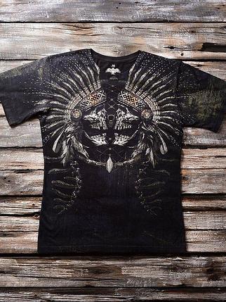 «Зеркальный череп» мужская тотальная футболка, фото 2