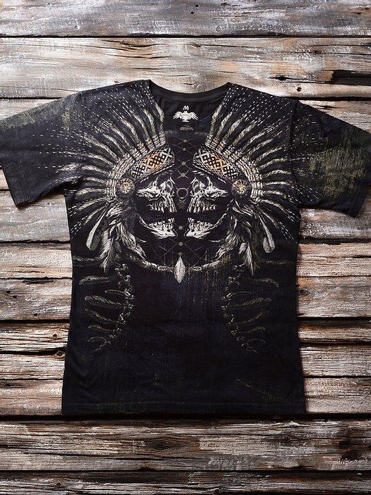 «Зеркальный череп» мужская тотальная футболка