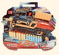Детский Бластер с мягкими пулями Super gun свет,звук ХН-021
