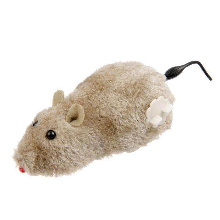 Мышь заводная меховая