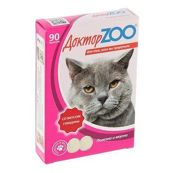 Витаминное лакомство для кошек Доктор ZOO Со вкусом говядины