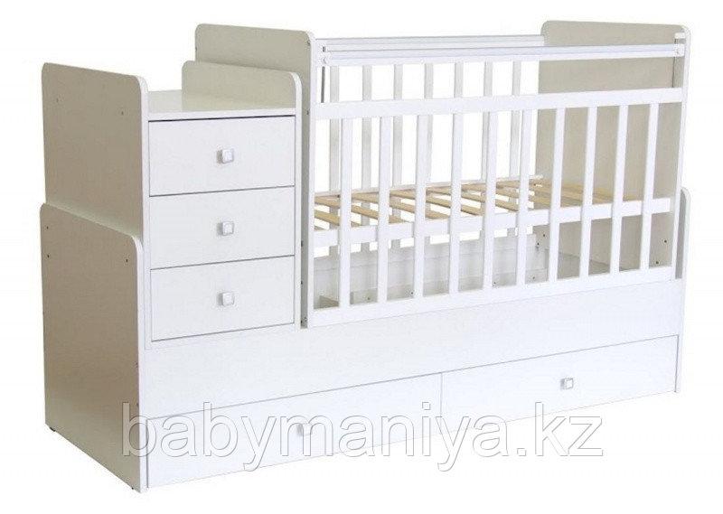"""Кроватка-трансформер детская Фея """"1100"""" белый"""