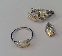 Серебряный комплект (набор) с золотым напылением. Вставка: белые фианиты, размер: 18, покрытие родий