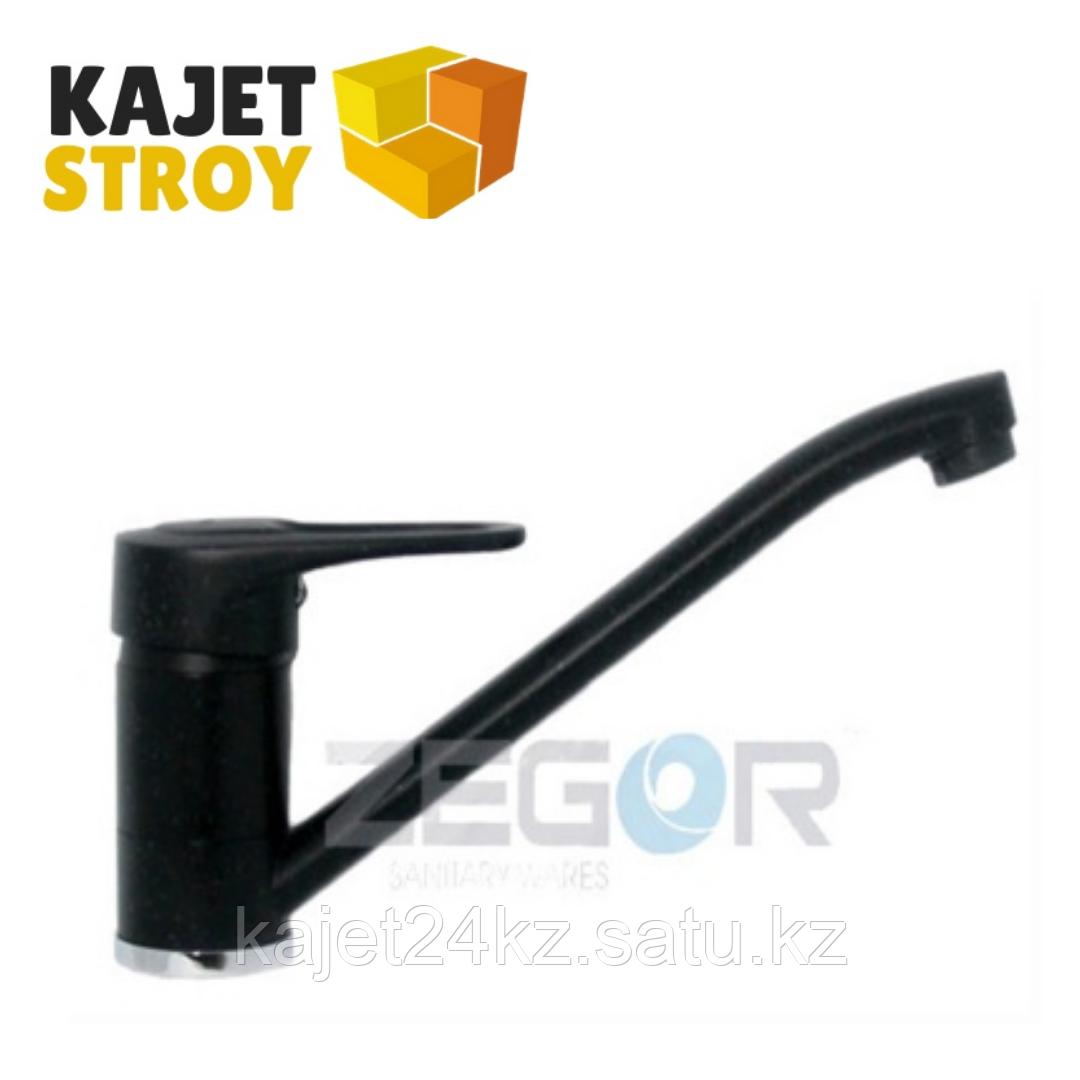 Смеситель ZEGOR POP-A043-В одноручный для кухни с поворотным изливом,на шпильке,черный (20)