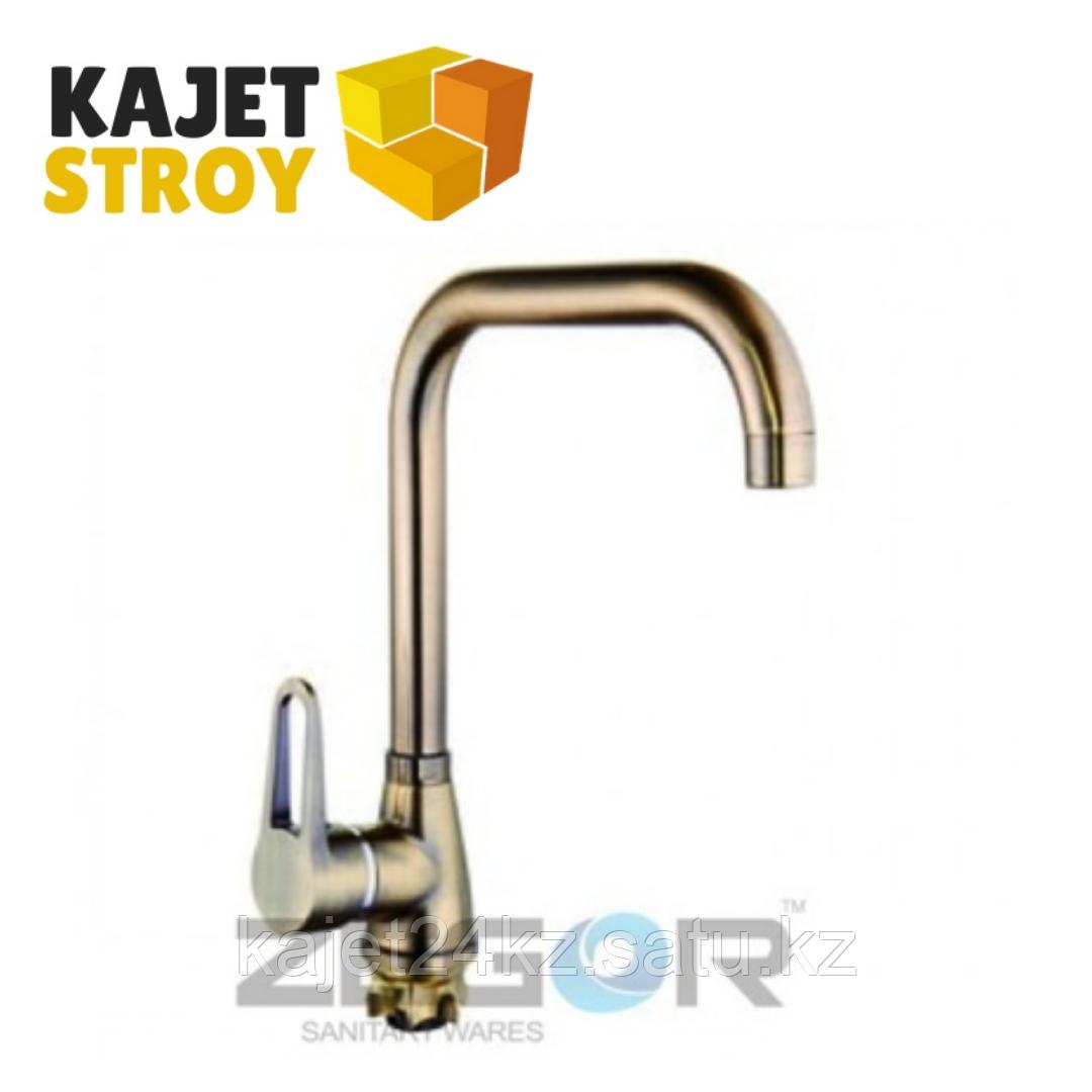 Смеситель ZEGOR SOP4-А045-КT одноручный для кухни с выс.поворот изливом,бронза,гайка (кор) (10)