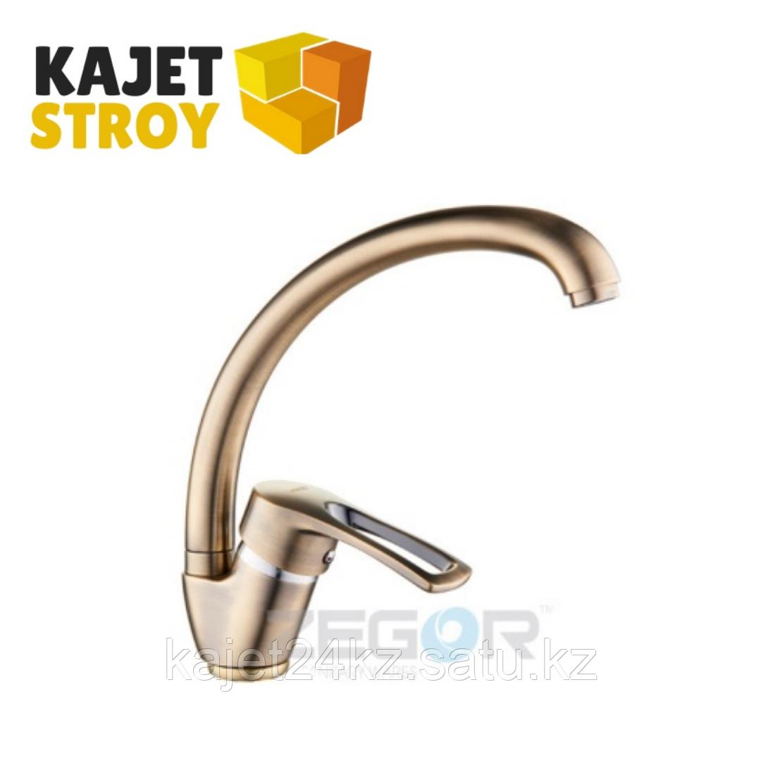 Смеситель ZEGOR YUB4-A181-KT одноручный для кухни с высоким пов. изливом,гайка ,бронза (10)