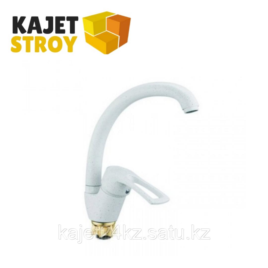 Смеситель ZEGOR YUB4-A181-KW одноручный для кухни с высоким пов. изливом,гайка белый (10)