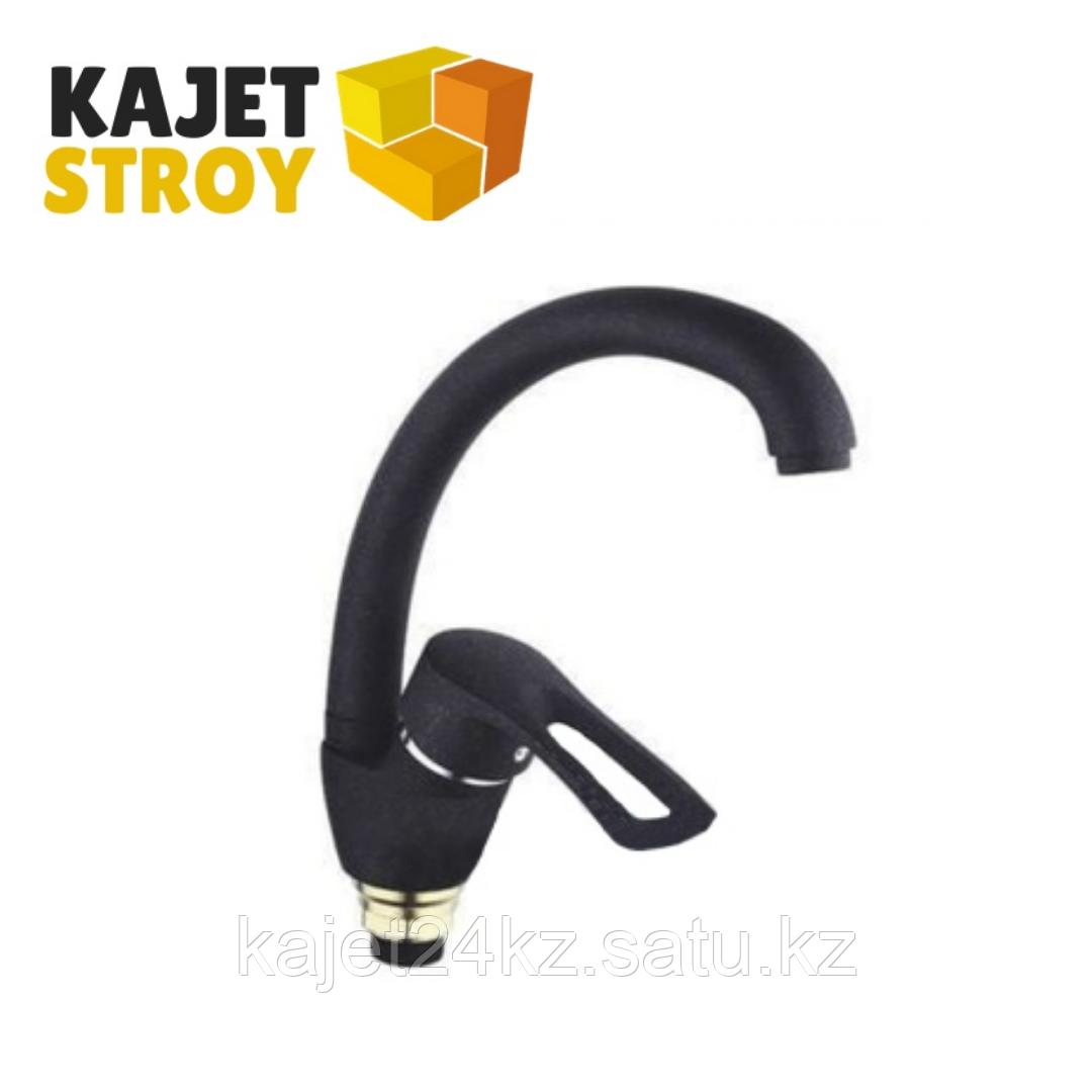 Смеситель ZEGOR YUB4-A181-KВ одноручный для кухни с высоким пов. изливом,гайка черный (10)