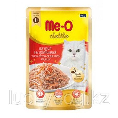 Me-O Delite влажный корм - лакомство для взрослых кошек всех пород с кусочками тунца и краба 70г