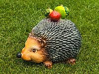 Садовая фигурка из гипса Еж с яблоками серый 20х18х27 см