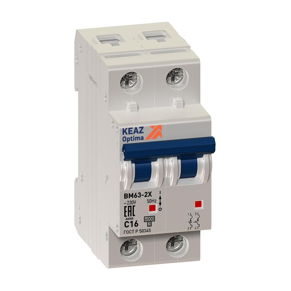 Выключатель автоматический модульный OptiDin ВМ63-2C4-10-УХЛ3 (Новый) КЭАЗ