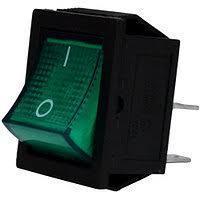 Клавишный выключатель KCD4-4P Green, 16A, 250V, две группы на включение