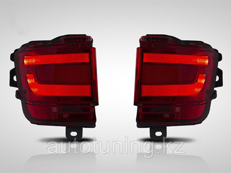 Светодиодные фонари в задний бампер (диодные катафоты,отражатель красный) на Toyota Land Cruiser 200 2015-2020