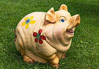 Садовая фигурка из гипса Свинка бежевая 38х40х28 см