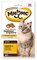 Лакомство для кошек Мнямс хрустящие подушечки Здоровье и красота с лососем, фото 1