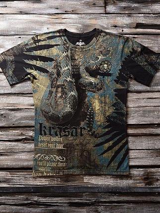 «Змеиный голод» мужская тотальная футболка, фото 2