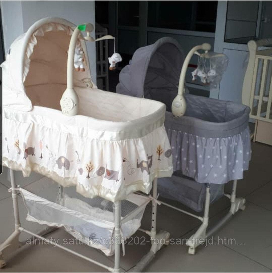 Детская кроватка-люлька для новорожденных(цвет бежевый)