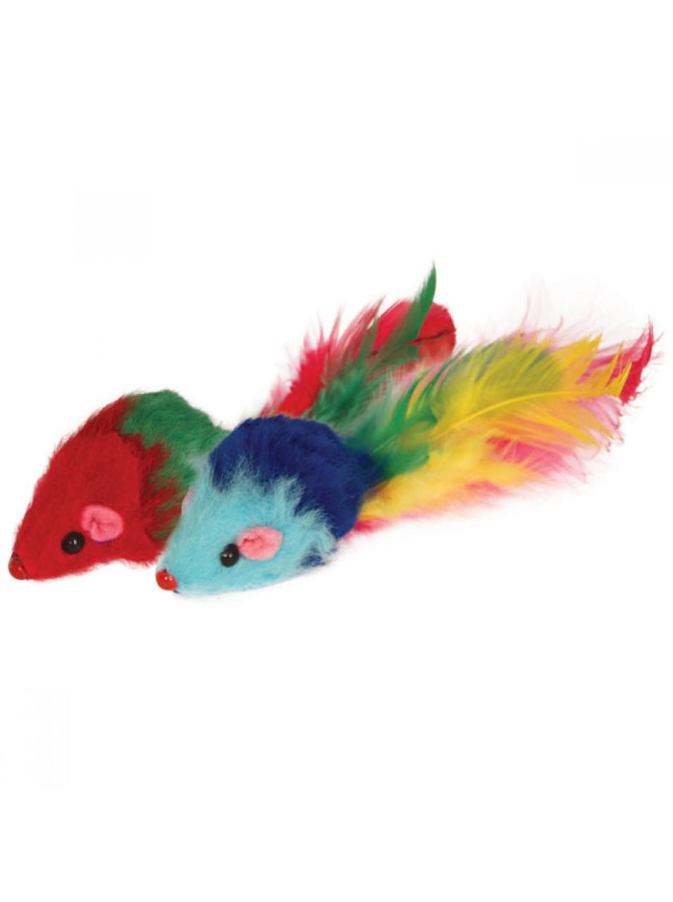 Игрушка для кошек Мышь погремушка с пером