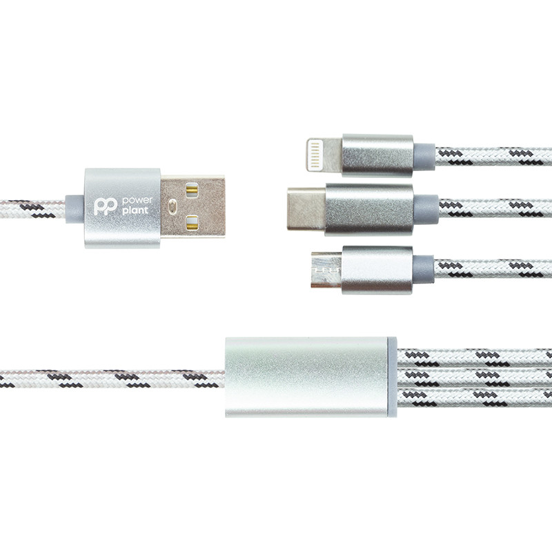 Кабель PowerPlant 2.1A 3-в-1 USB AM - Type-C/Lightning/Micro, 1.2м, серый
