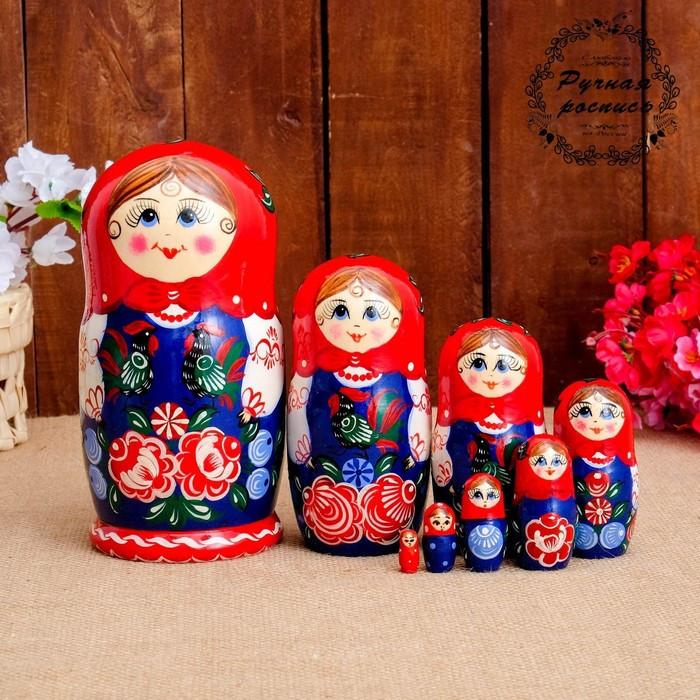 Матрёшка «Птица на фартуке», красный платок, 8 кукольная, 19 см