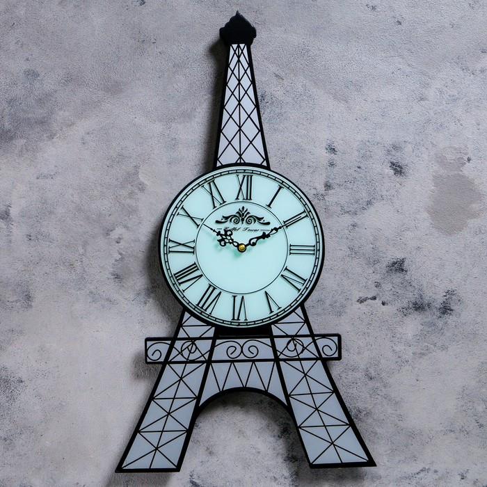 """Часы настенные интерьерные """"Эйфелева башня"""", римские цифры, d=21 cм, белые, 60х34.5 см"""