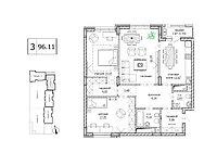 3 комнатная квартира в ЖК Seven98.6 м², фото 1