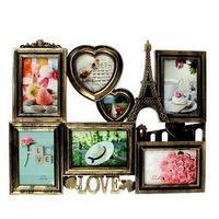 Фоторамка на 7 фото 10х15 см, 11х11 см, 7х7 см 'Любовь по-французски' под бронзу