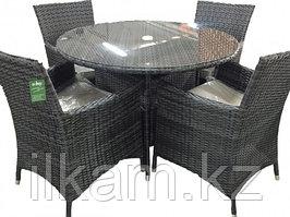 Мебельный комплект из ротанга : 4 кресла и стол, с отверстием для зонта