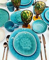 "Столовый сервиз ,керамика,цвет бирюза,стиль Крафт, Сет "" Sea"" на 6 персон"