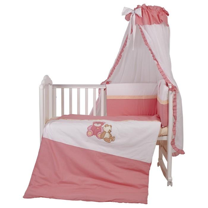 Комплект в кроватку «Плюшевые мишки», 7 предметов, цвет розовый