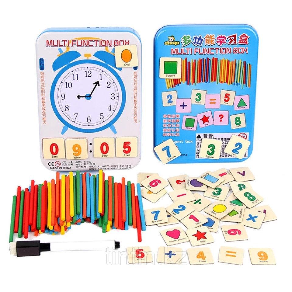 Набор счетных палочек в комплекте с магнитными цифрами и маркером, в железной банке