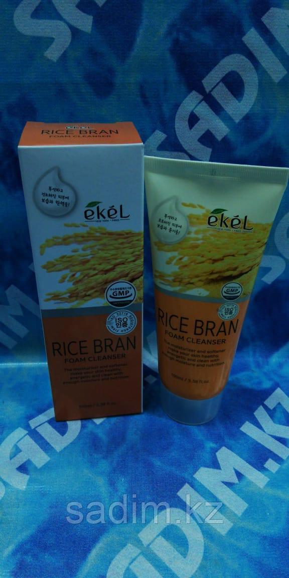 Ekel Rice Bran Foam Cleanser 100 мл Пенка для умывания с экстрактом коричневого риса