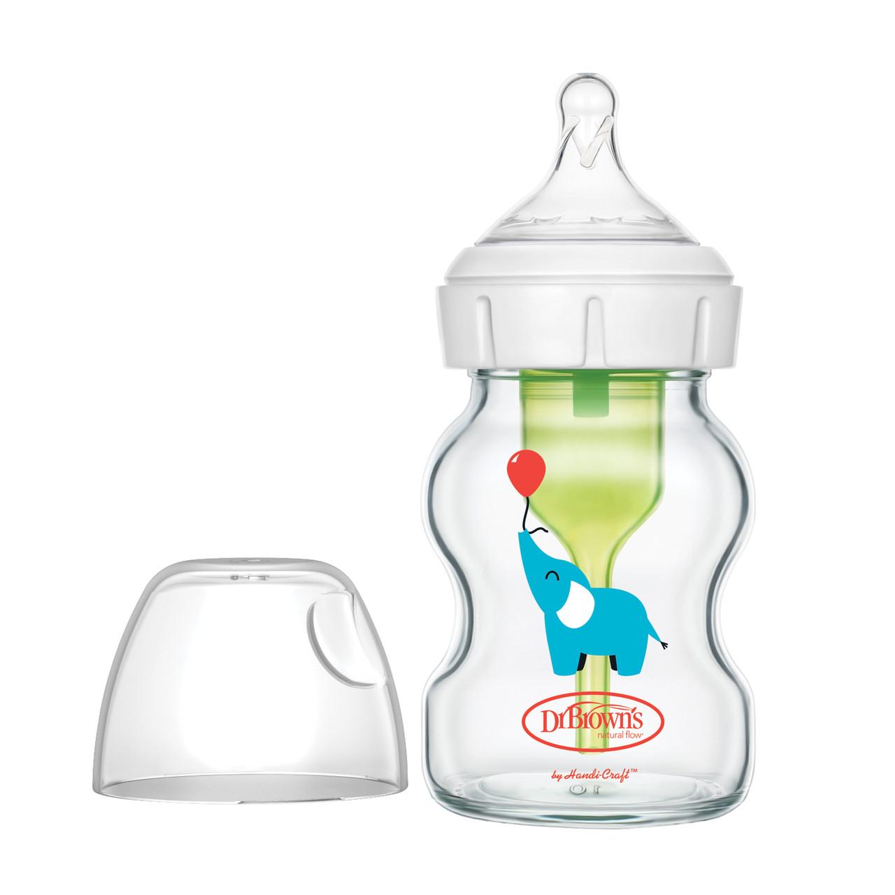 Противоколиковая бутылочка Dr.Brown's OPTIONS+ с шир/гор-м, 150 мл СТЕКЛО, соска 0+