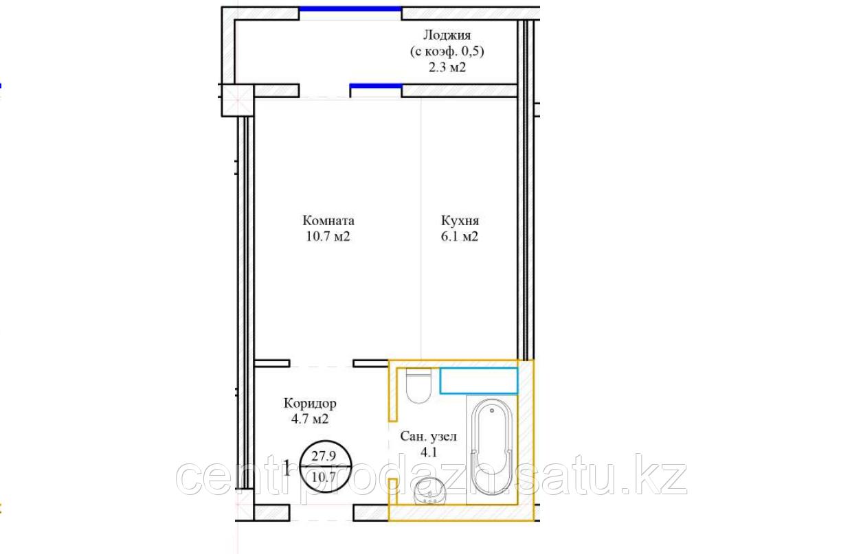 1 комнатная квартира 27.9  м²