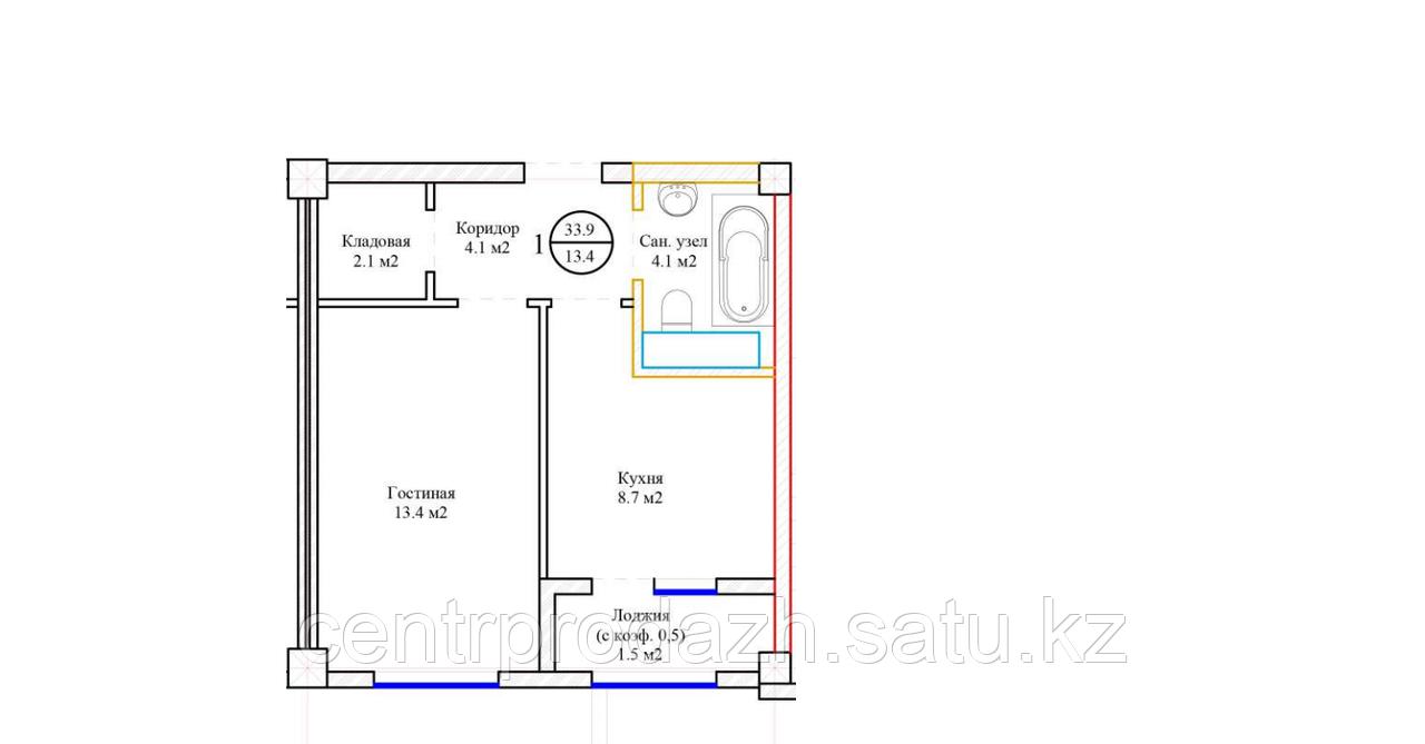1 комнатная квартира 33.9 м²