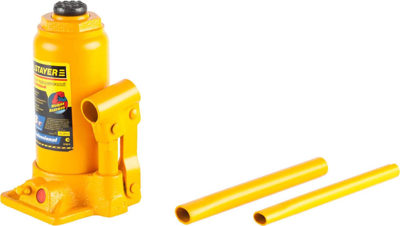 Гидравлический бутылочный домкрат STAYER, 8 т, 200-385 мм, PROFI, кейс (43160-8-K)