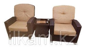 Комплект мебели из ротанга. Кофейный 2 персоны.