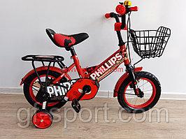 Велосипед Phillips красный оригинал детский с холостым ходом 12 размер