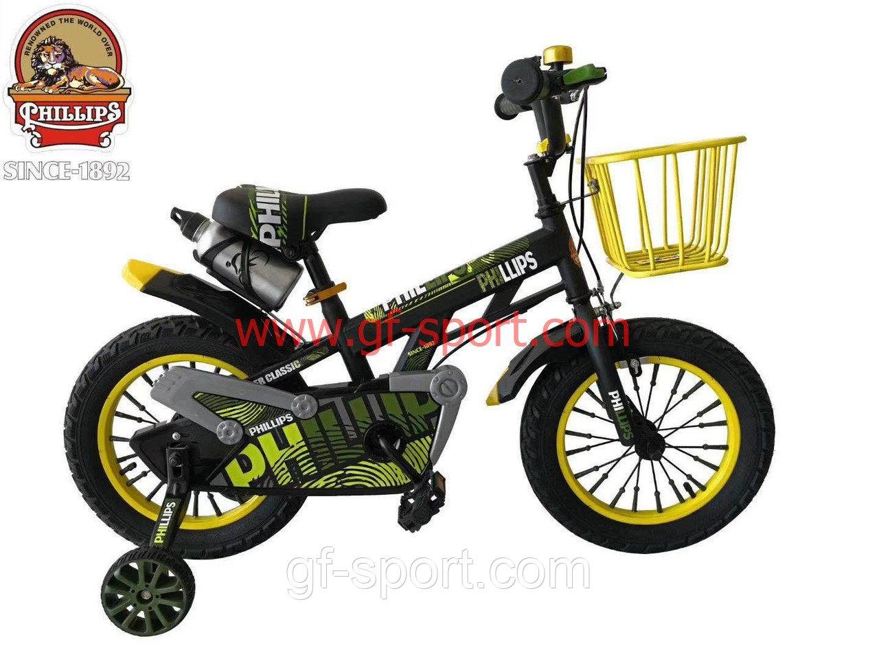 Велосипед Phillips зеленый(хаки,военный) алюминиевый сплав оригинал детский с холостым ходом 14 размер