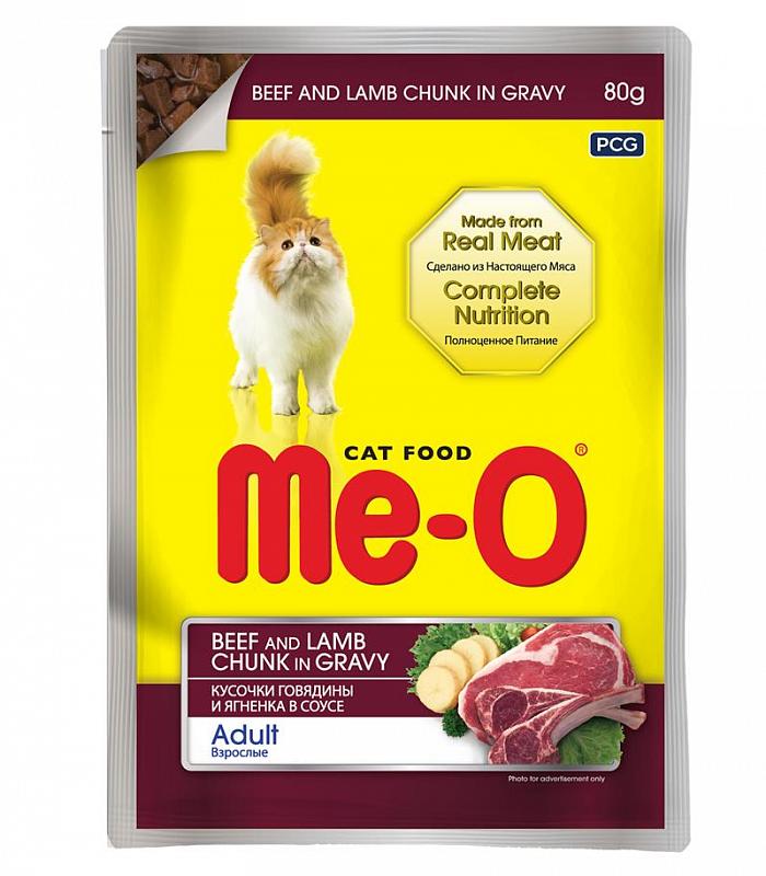 Ме-О Влажный корм для кошек Говядина и ягнёнок в соусе