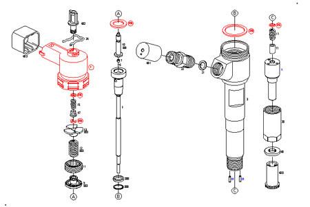 Ремкомплект форсунки (F 00V C01 383) BOSCH ДВС  Cummins F00VC01383-рк