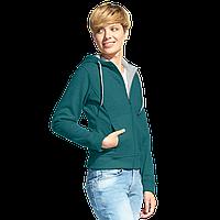 Женская двухцветная толстовка с капюшоном, StanElite, 19, Изумрудный меланж (131), XL/50