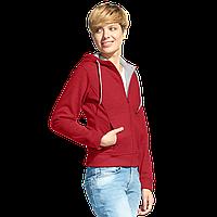 Женская двухцветная толстовка с капюшоном, StanElite, 19, Бордовый меланж (166), L/48