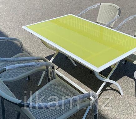 Комплект мебели складной: желтый стол, четыре стула, фото 2