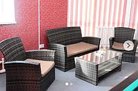 Комплект мебели столик стекло, двухместный диванчик, два кресла