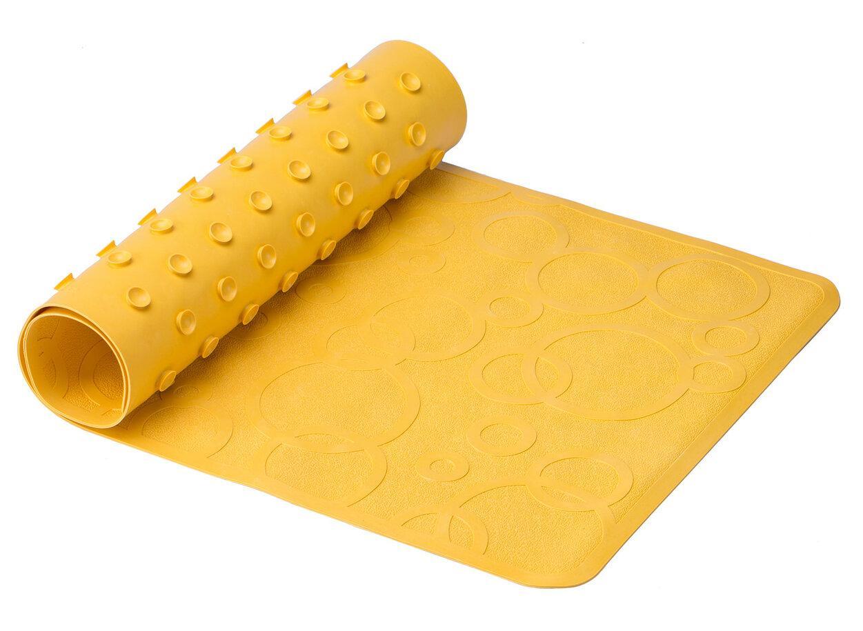 Антискользящий резиновый коврик для ванны без отверстий, цвет желтый, 35*76 см - фото 1