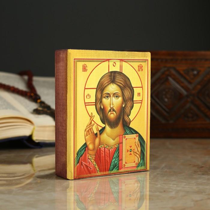 Икона «Иисус», 9х11х2.6 см, липа